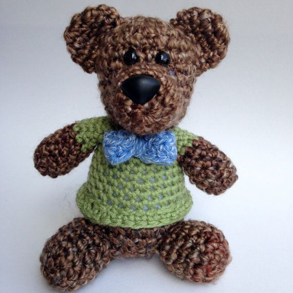 Crochet Teddy Bear with Bow Tie Plush Amigurumi by ...