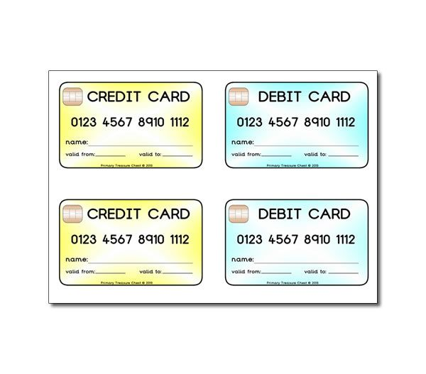 credit card template for kids
