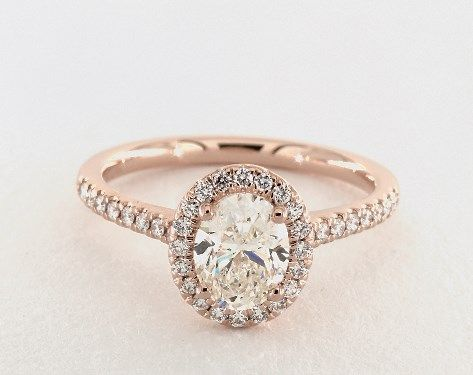 1.01 Carat Oval Cut Halo Engagement Ring in 14K Rose Gold