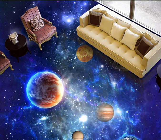 3D Dazzling Space Floor Mural   AJ Wallpaper