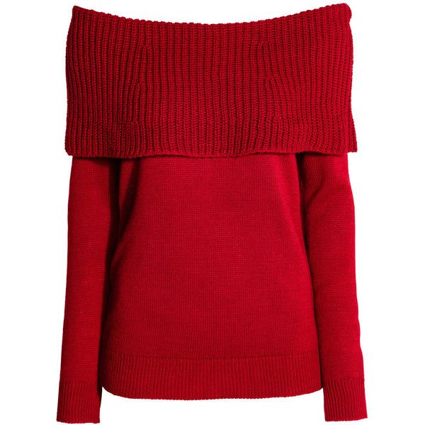 7873fbea1ce H&M Off-the-shoulder Sweater $9.99 (€34) ❤ liked on Polyvore featuring tops,  sweaters, off shoulder tops, red off shoulder top, red off the shoulder top,  ...