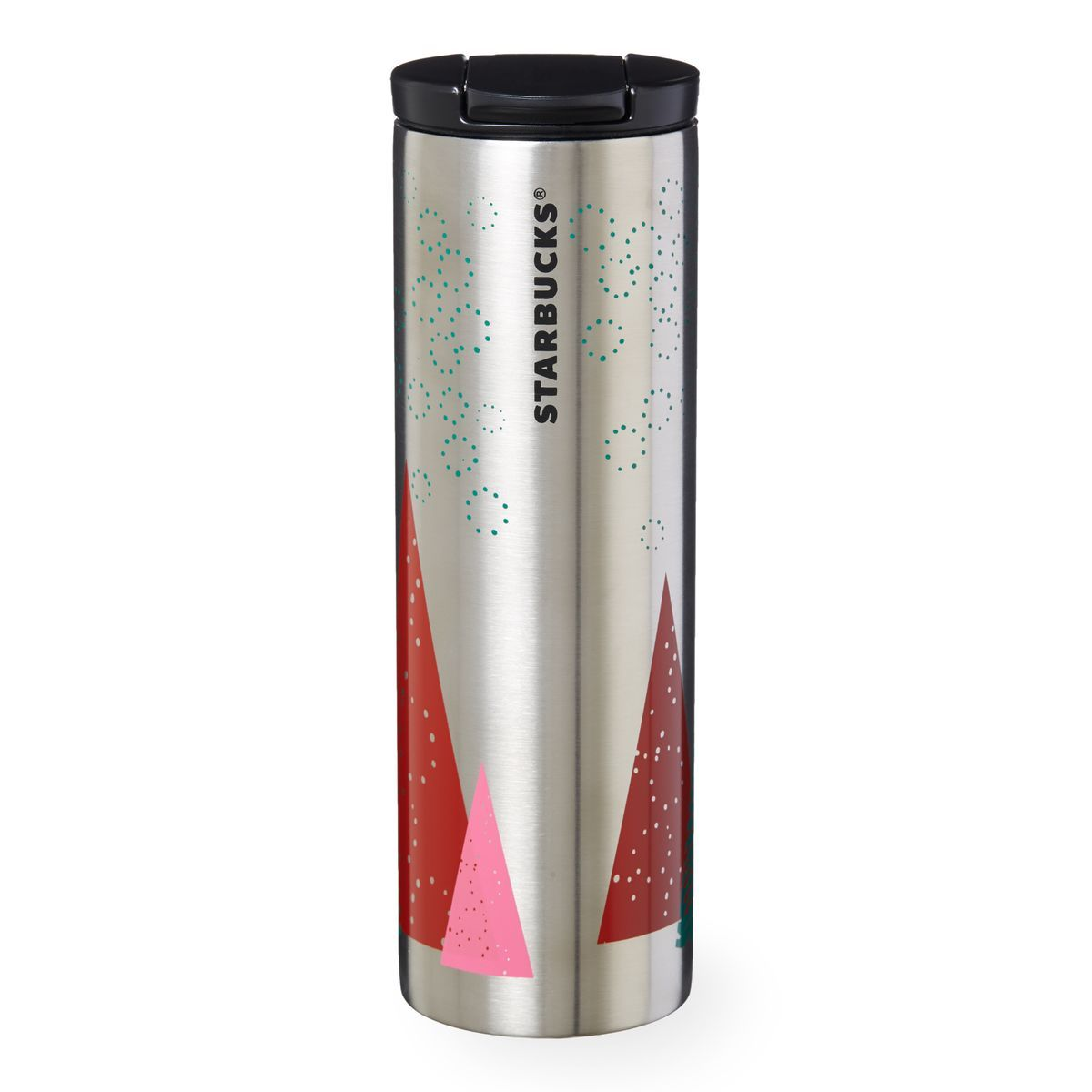 Stainless steel ornaments - A Brushed Stainless Steel Coffee Tumbler Screen Printed With Geometric Trees In Red Pink And