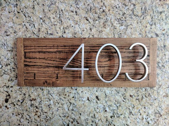 Dark Thin Plank Modern Reclaimed Wood House Address Number Sign House In The Woods House Address Numbers House Warming Gifts