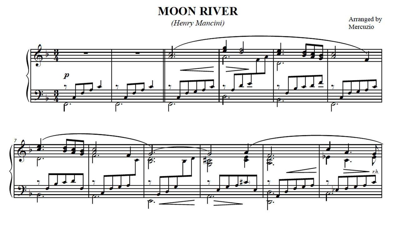 Moon River Mancini Arranged For Piano By Mercuzio En 2020