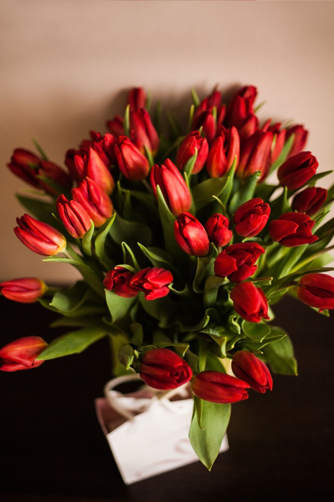Bouquet Of Red Tulips Spring Flowers Bouquet Of Red Tulips On Brown Wooden Background Mother S Day And Va Tulips Flowers Red Tulips Bouquet Amazing Flowers