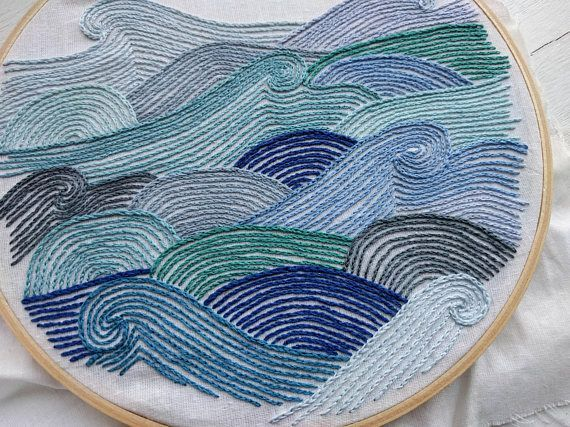 Photo of Embroidery Patterns Uncover Hand Embroidery Sample // Ocean Waves // DIY Hoop …