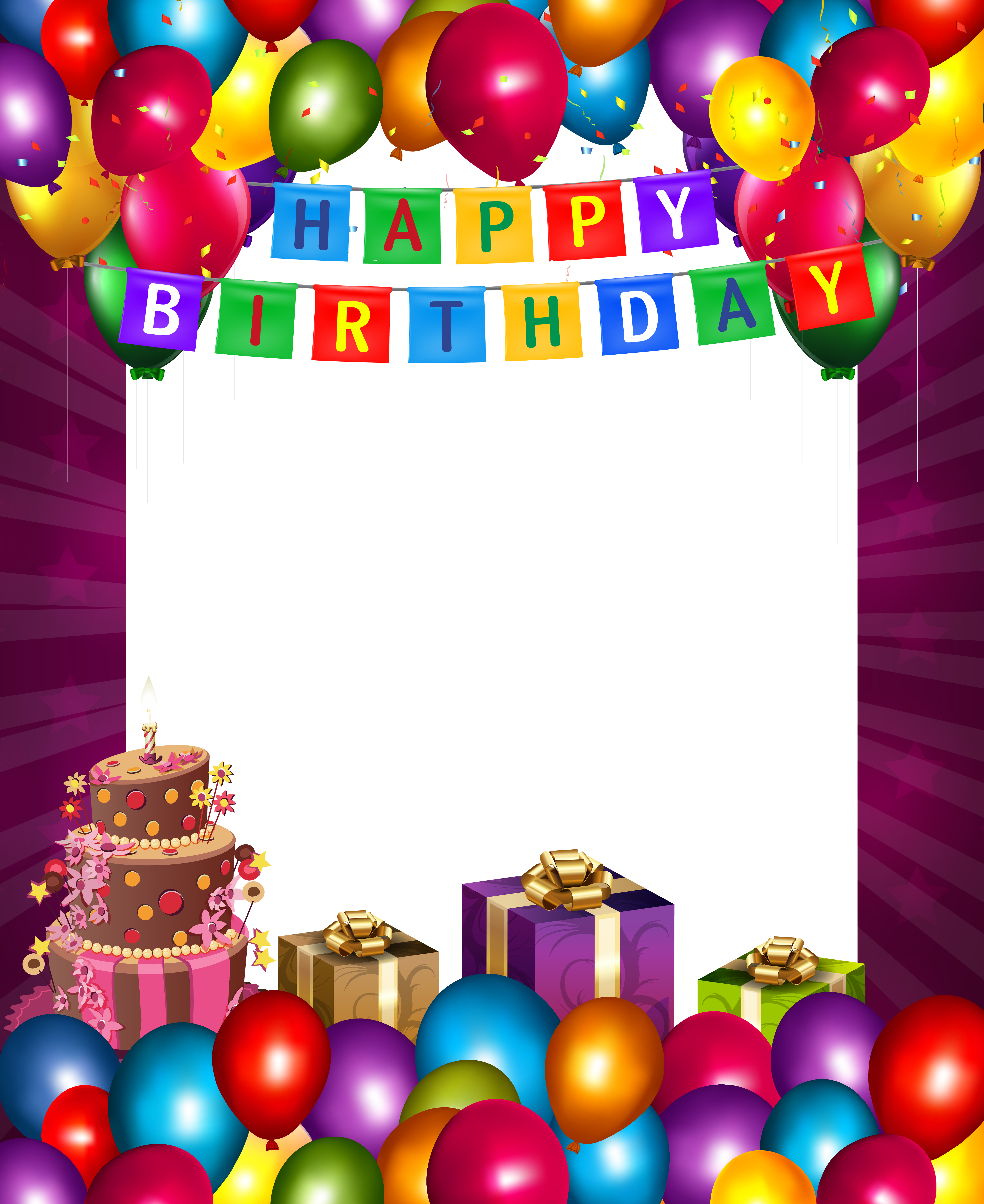 80th birthday borders and frames 80th birthday card - Happy Birthday With Balloons Transparent Png Frame