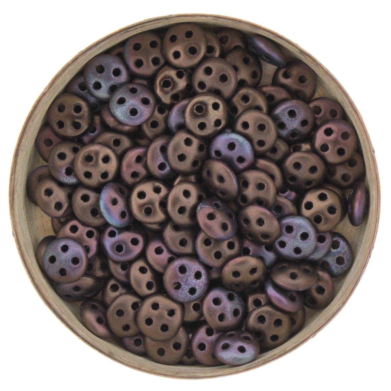 50 Bronze matte 4-hole lentil beads 6mm QuadraLentils CzechMate