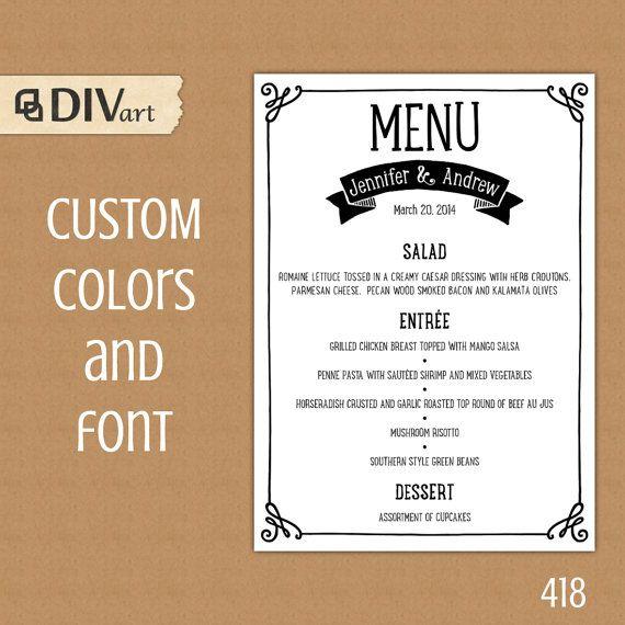 PRINTABLE 5x7 - dinner menu