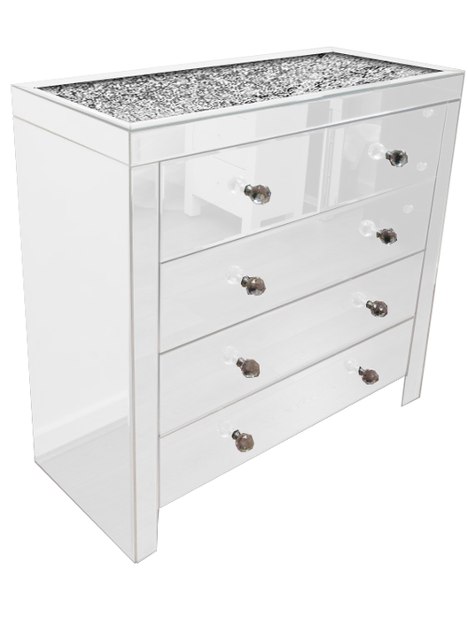 White Mirror Crush Bedroom Bundle Mirror Chest Of Drawers White Mirror Mirrored Chest