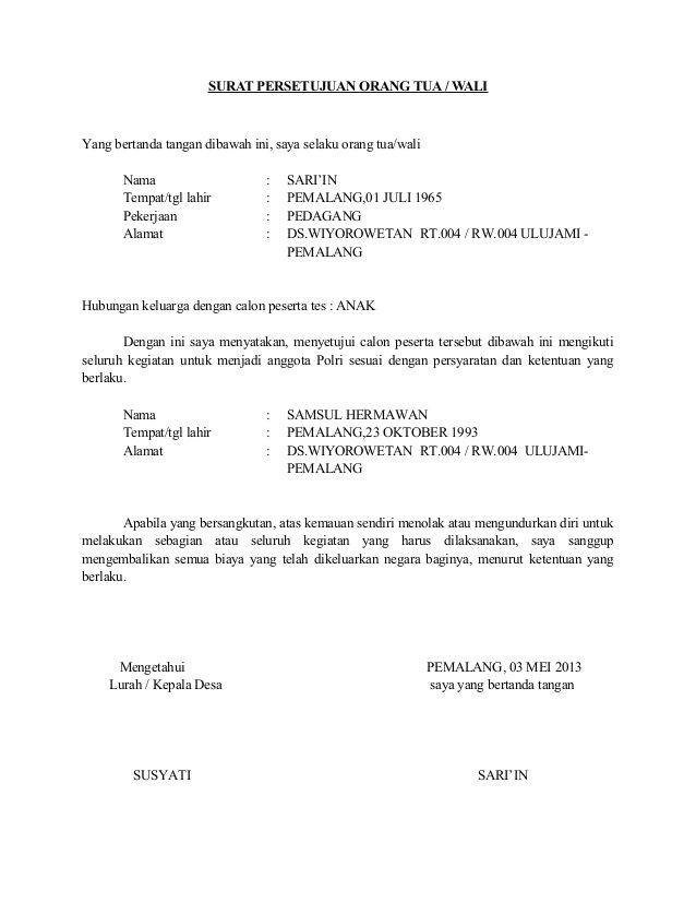 Download Surat Izin Orang Tua Untuk Bekerja Doc - Guru Paud