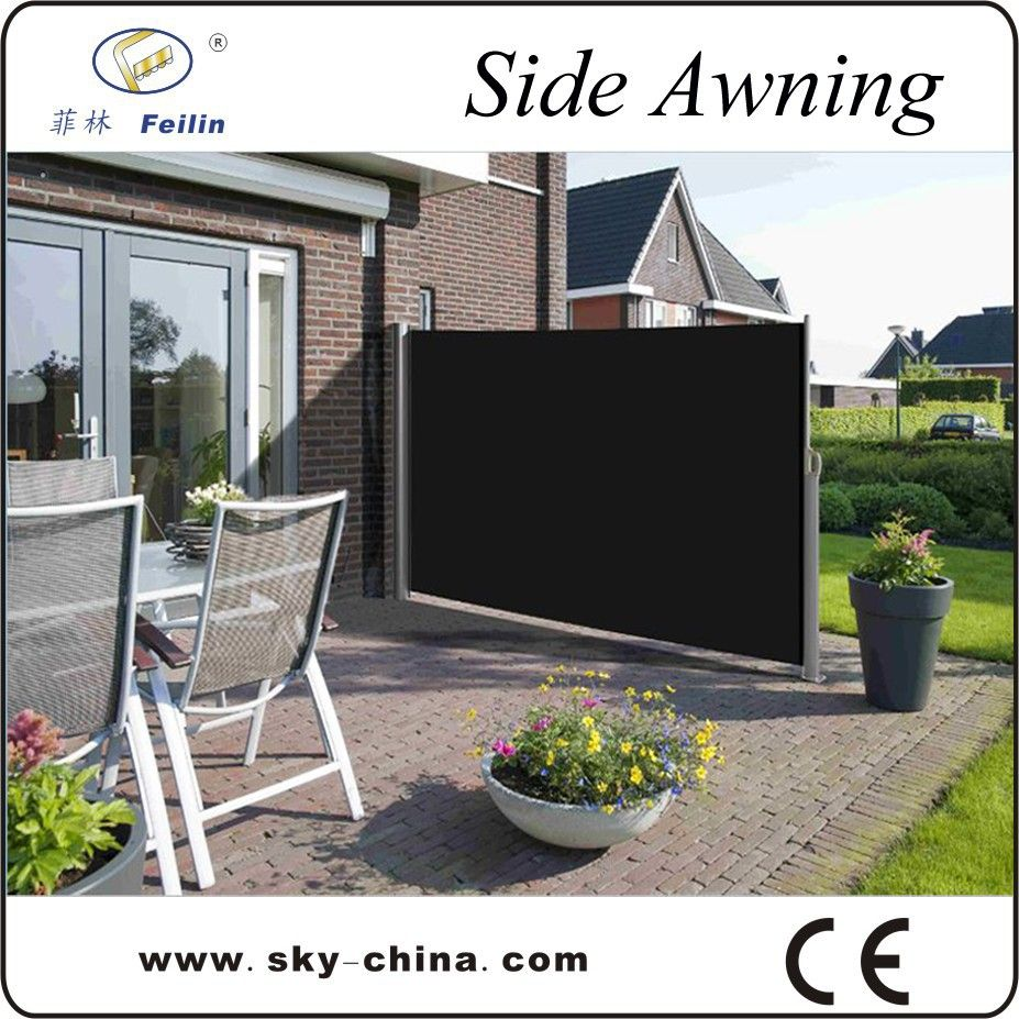 Outdoor retractable wind screen side awning screen for balcony uv
