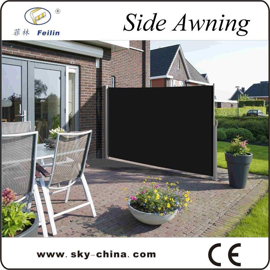 outdoor retractable wind screen side