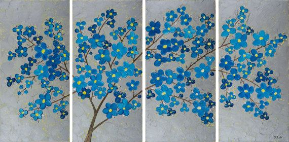 Original Large OIL Landscape Blue Flowers Tree by QiQiGallery