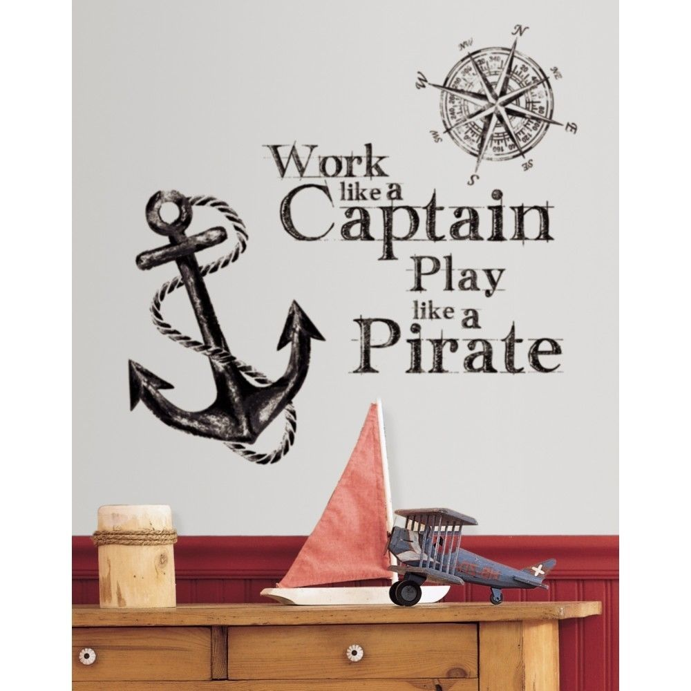 anchor room decor. work like a captain wall quote decals play pirate anchor room decor stickers anchor