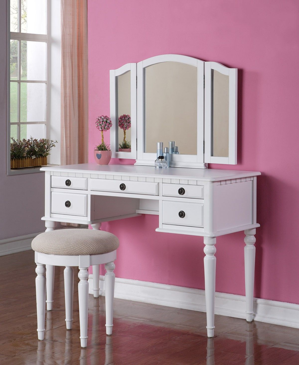 Poundex white drawer vanity set with mirror and stool f