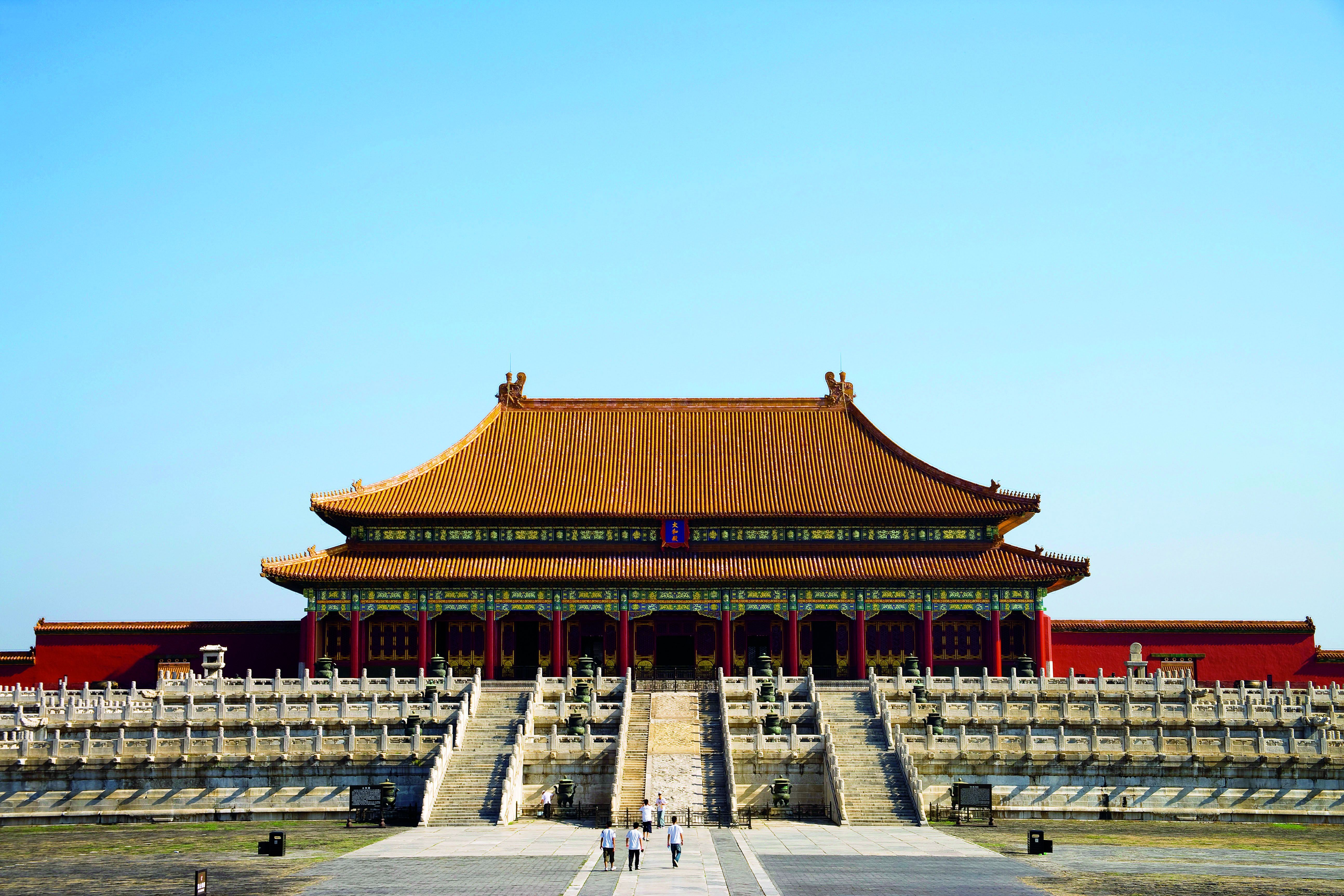 """The Facade of the Hall of Supreme Harmony, the most prestigious of the three great halls in the Forbidden City. Its grandeur symbolized the omnipotence of imperial authority and reinforced the power of the emperor. From """"Palace Architecture,"""" a volume of the Library of Ancient Chinese Architecture."""