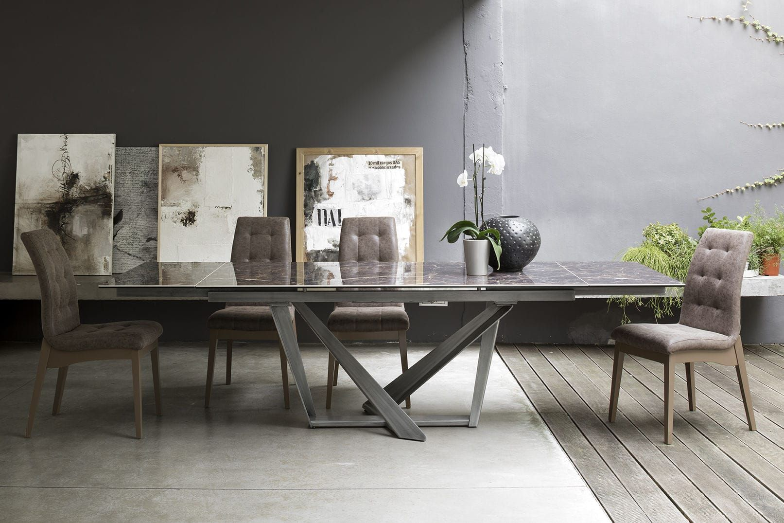 Tavolo da pranzo moderno / in metallo / in gres ...