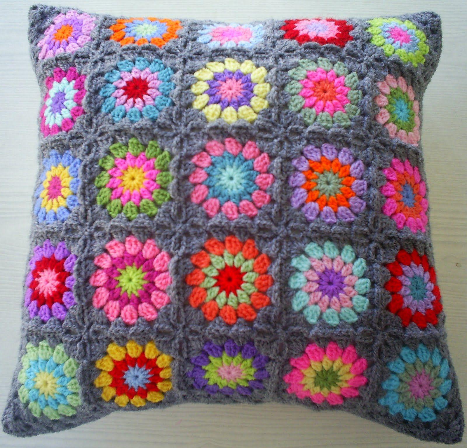 Haak Maar Aan Granny Square Kussen Cushion Crochet Cushions