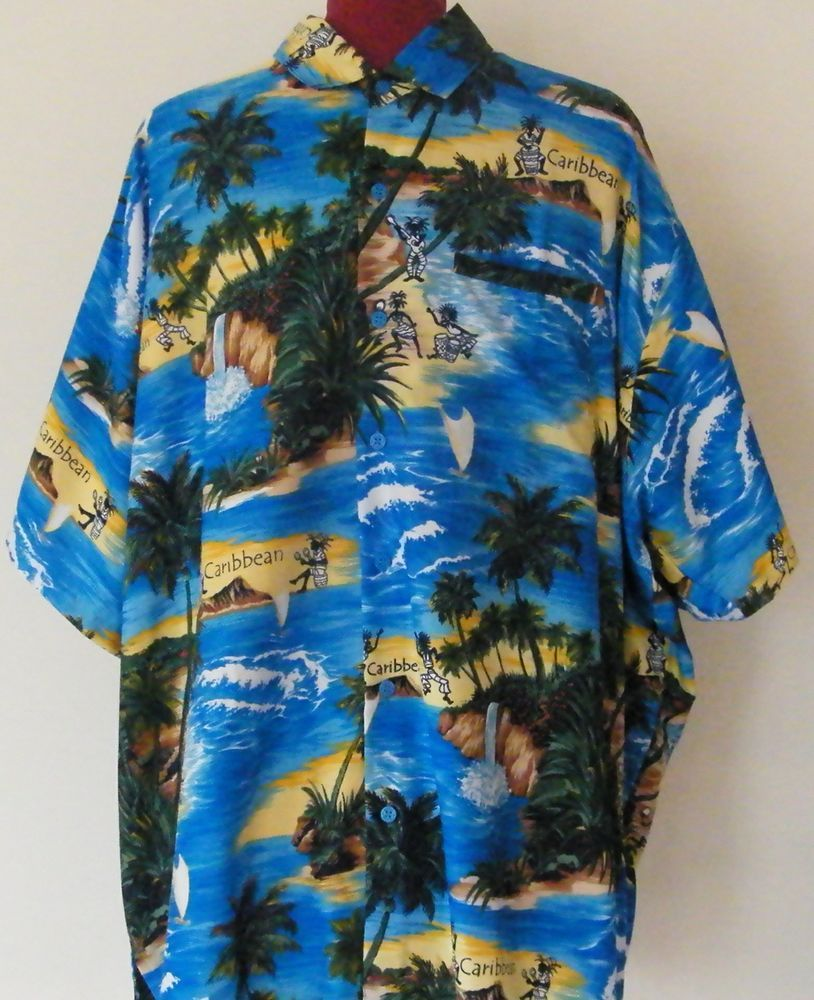 67f0668f Tropical Caribbean Hawaiian shirt by Rima. Size: XXL. Condition:Very gentle  wear without without holes, rips, tears, pulls or stains.