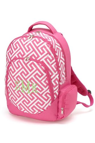 62b6f2e12a7f Monogrammed Pink Greek Key Backpack! On sale for  24.99! Also
