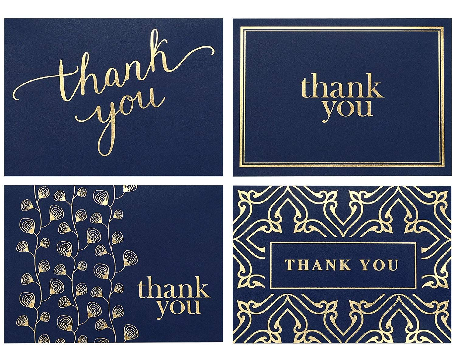 100 Thank You Cards Bulk Thank You Notes Navy Blue Gold Blank Note Cards With Envelope Business Thank You Cards Blank Note Cards Funeral Thank You Notes