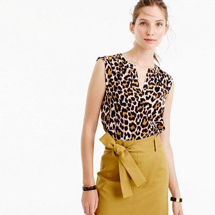 Tall cuffed-sleeve top in leopard print