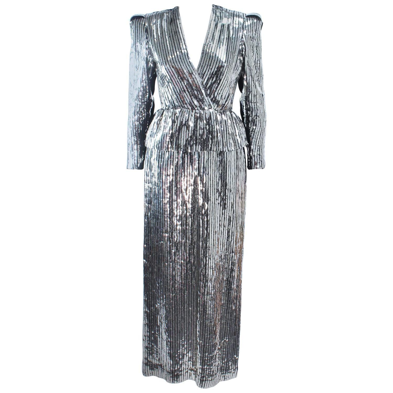Estevez silver sequin and velvet gown peplum size velvet gown