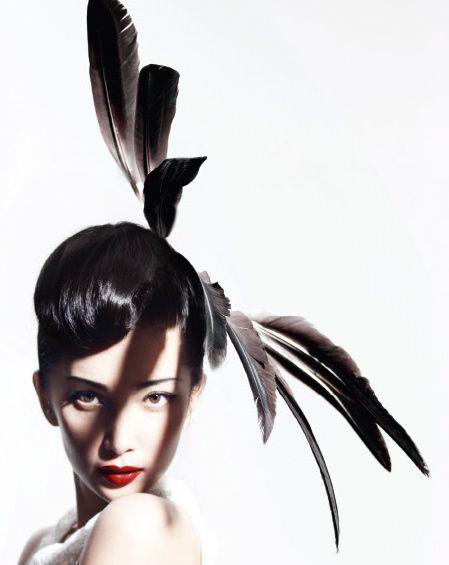 Li Bingbing Elisabeth Koch Millinery pleasant beach feathers Harper's Bazaar
