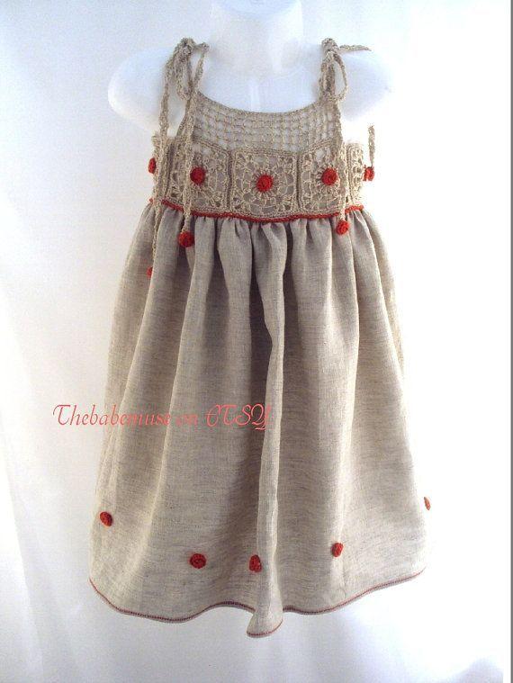 Photo of Rustikale Baby-Mädchen Bio-Leinen Kleid, Häkeln Passe, Flowergirl Kleid, Baby …
