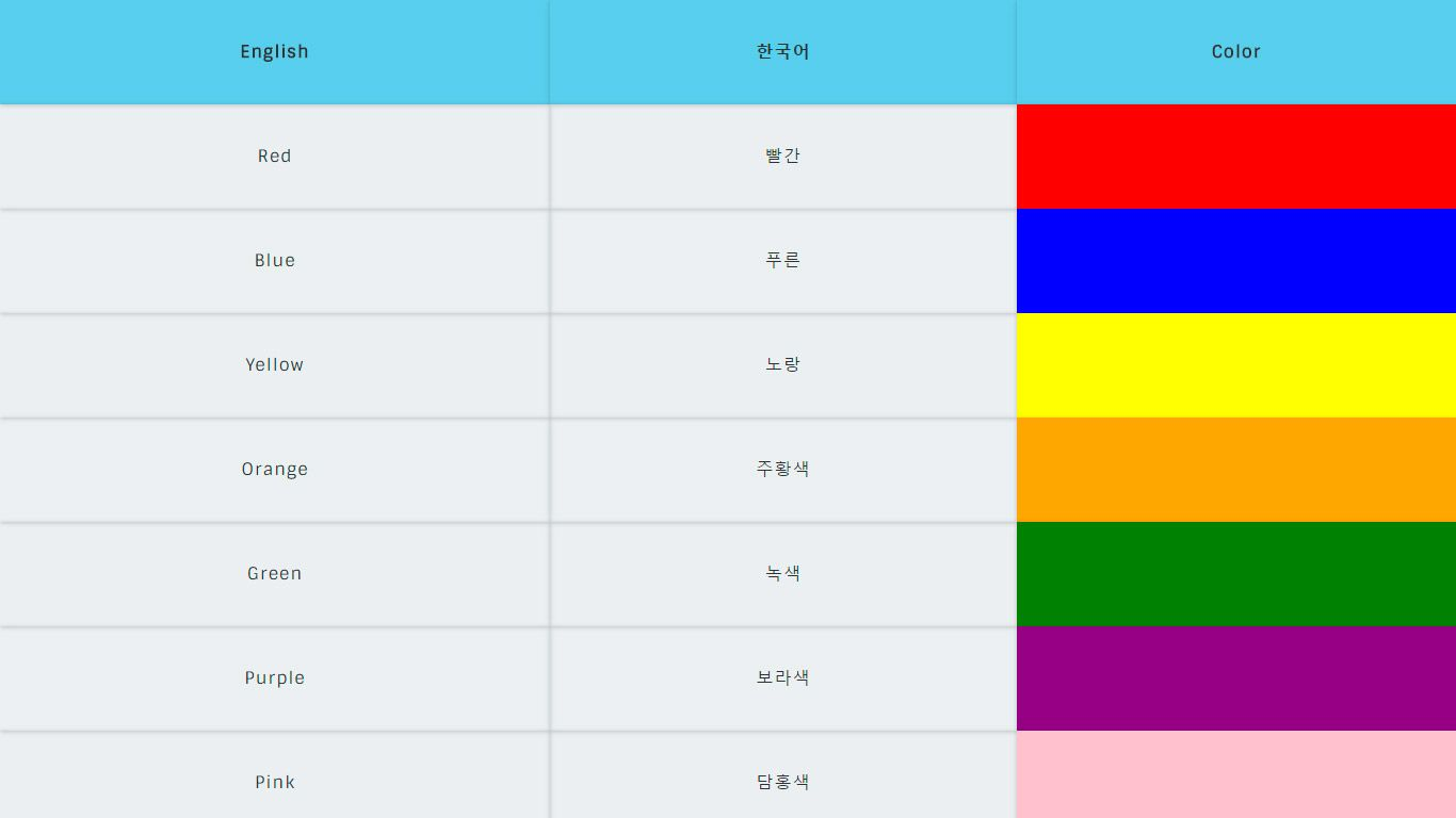 Colors In English And Korean All