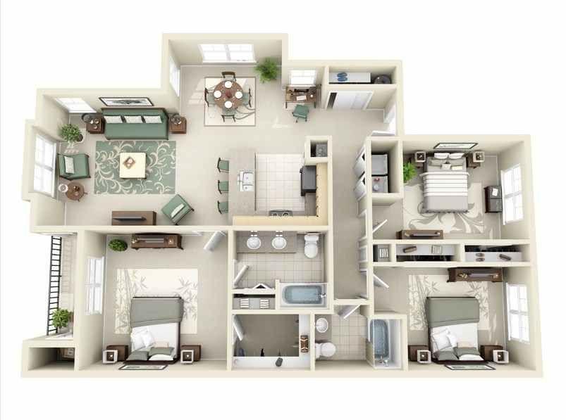 denah rumah minimalis 3 kamar tidur 2 kamar mandi