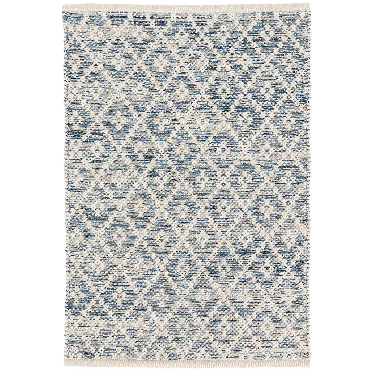 Melange Diamond Blue Woven Cotton Rug Dash Albert In 2020 Cotton Rug Washable Area Rugs Dash And Albert