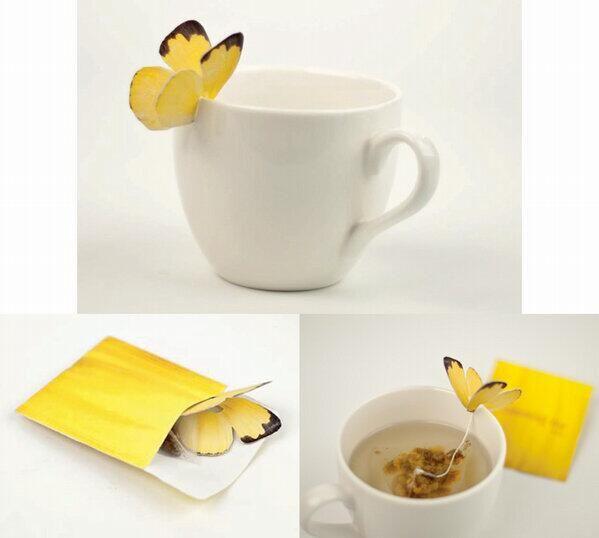 カップの縁に蝶がとまる素敵なハーブティー  素敵♡ http://www.yankodesign.com/2013/01/24/butterfly-tea/