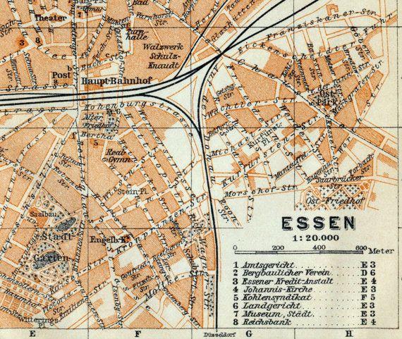 Antique Map of Essen Germany 1909 Essen Map Antique maps and Essen