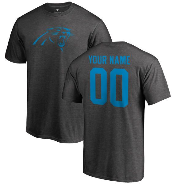 Carolina Panthers NFL Pro Line by Fanatics Branded Personalized One Color  T-Shirt - Ash