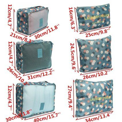 55f9a52cc7f9 6Pcs Waterproof Clothes Storage Bags Packing Cube Travel Luggage ...