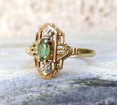 Photo of Vintage Emerald Ring, Dainty Art Deco Emerald and Diamonds, Vintage Engagement Ring,  #Art #D…