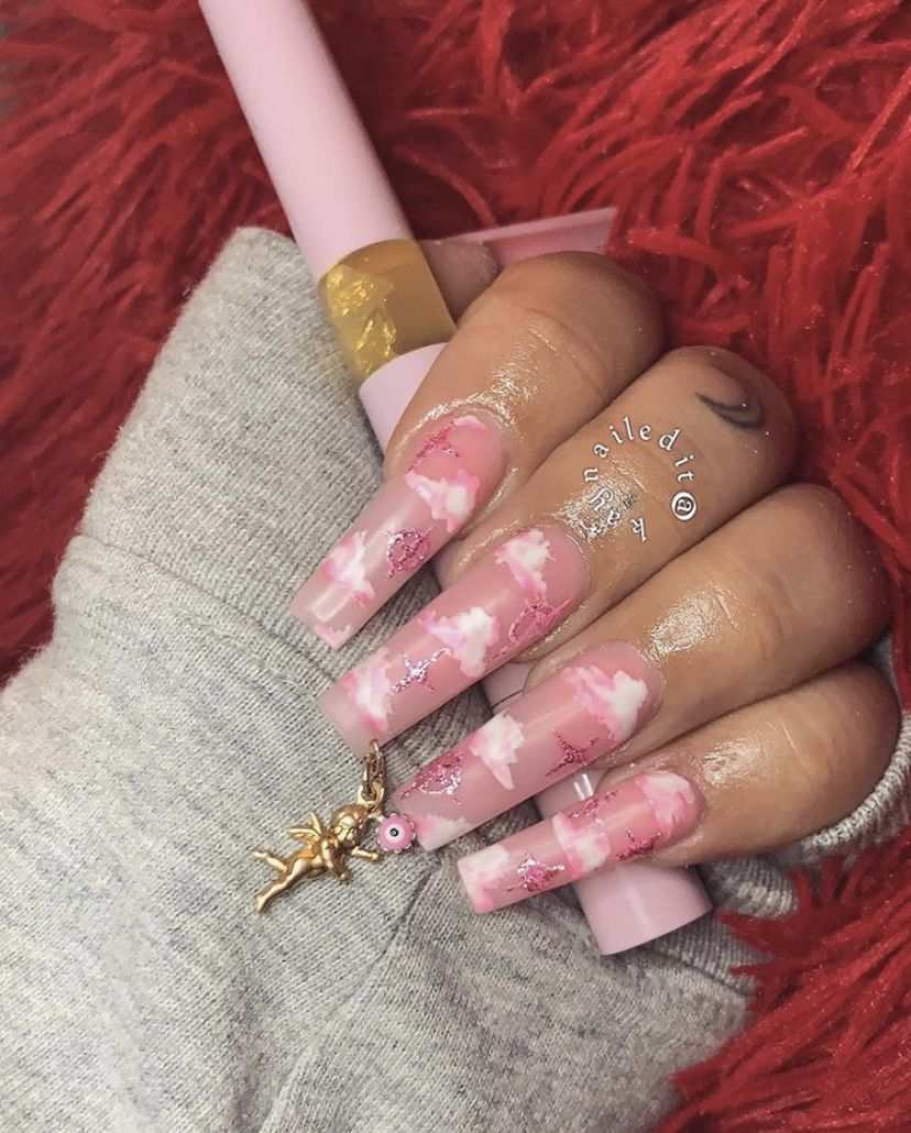Pink Angels In 2020 Fancy Nails Long Acrylic Nails Cute Nails