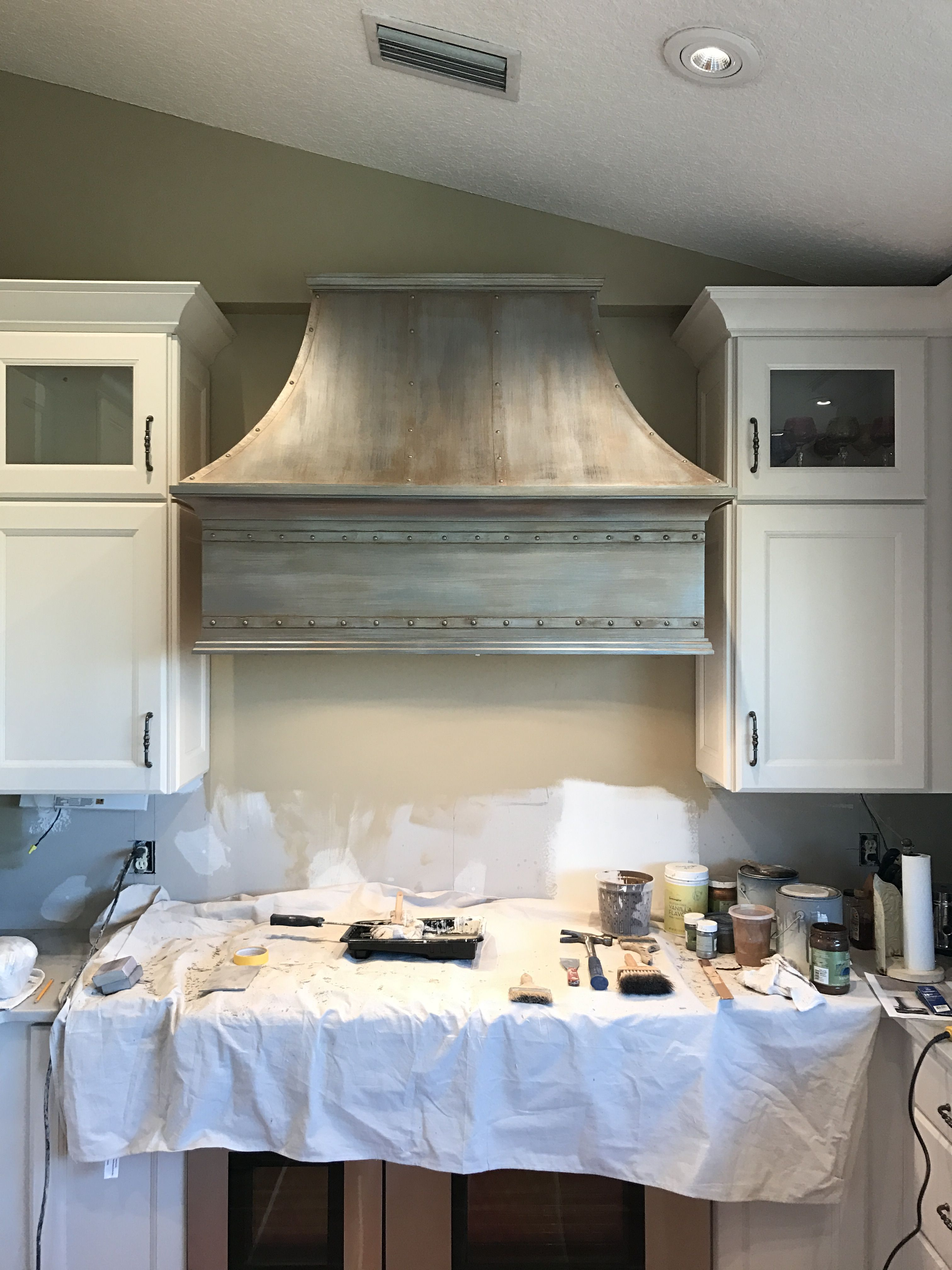 Pewter Copper Plastered Range Hood Here Faux Finish On