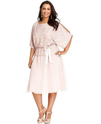 jessica howard plus size dress, short-sleeve sequined lace blouson