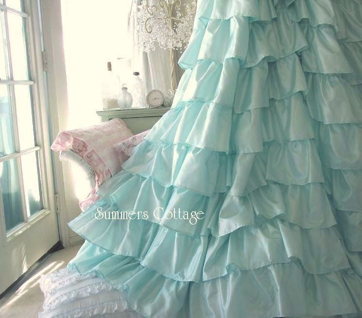 Lavender lilac satin ruffles shower curtain shabby cottage chic ...