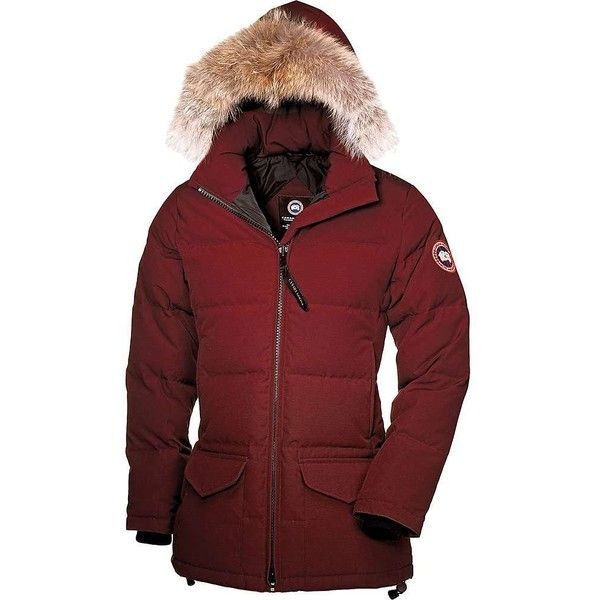 Canada Goose Women's Solaris Parka ($745) ❤ liked on Polyvore featuring outerwear, coats, redwood, parka coat, red parka, red coat, heavy coat and fur parka coat