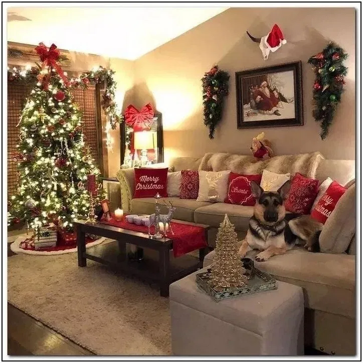 116 Wonderful Farmhouse Living Room Decor Design Ideas Page 45 Homydepo Christmas Apartment Christmas Decorations Living Room Christmas Decorations Apartment