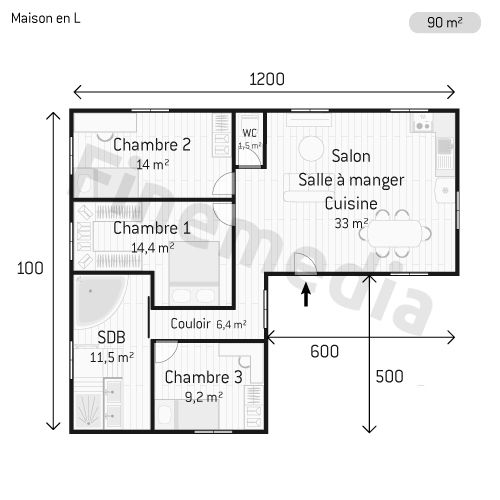 Photo Maison en bois Plan de maison en L plain pied Surface plan