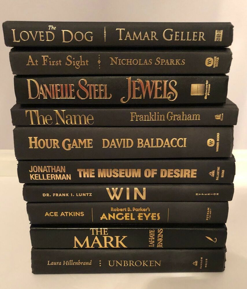 Lot 10 Black Spine Books With Gold Lettering For Staging Prop Decor Nicholas Sparks Books Collection Nicholas Sparks Books Book Spine