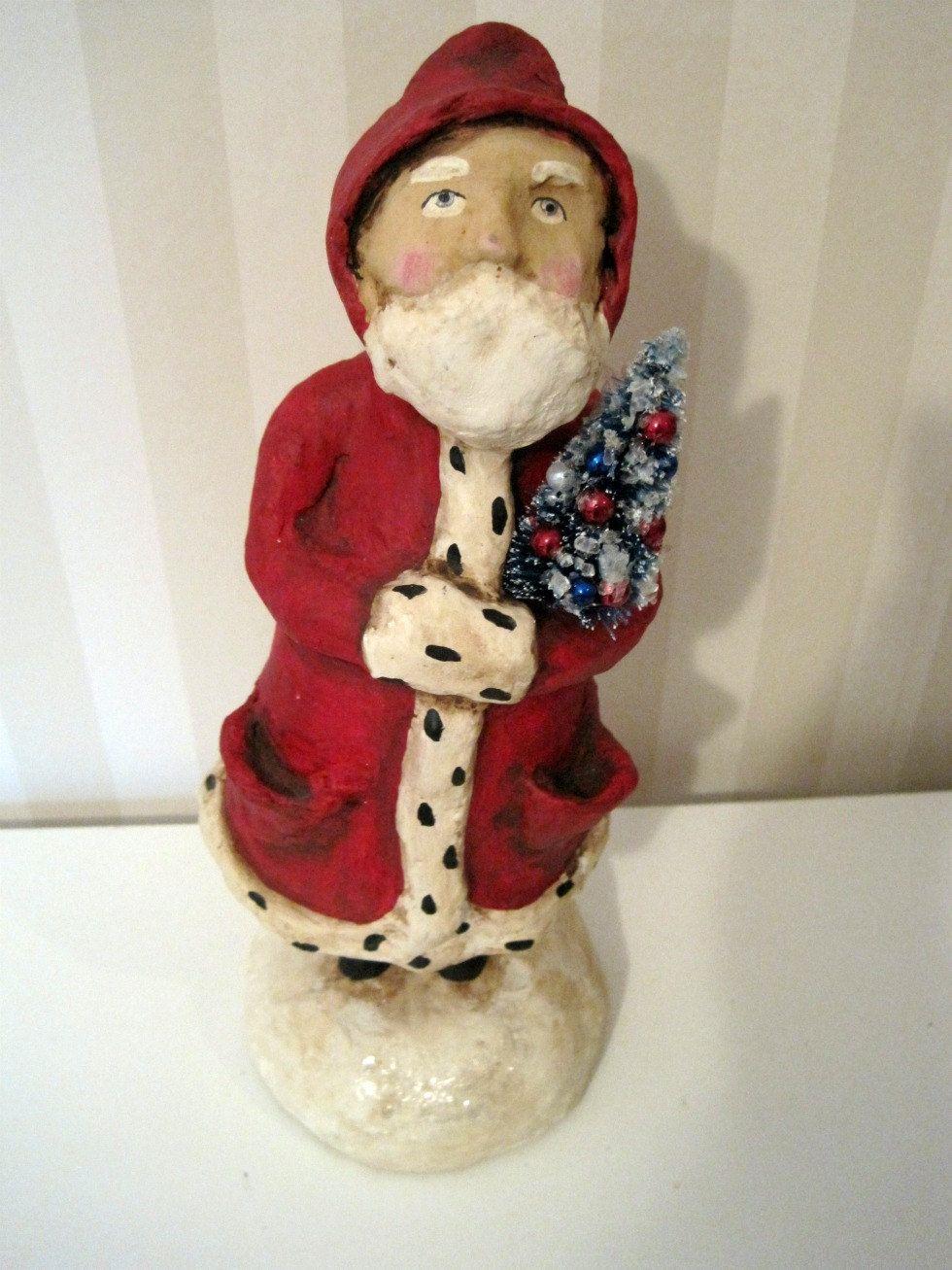 Santa Claus- Belsnickel- papier mache- figurine- folk art doll-hand ...