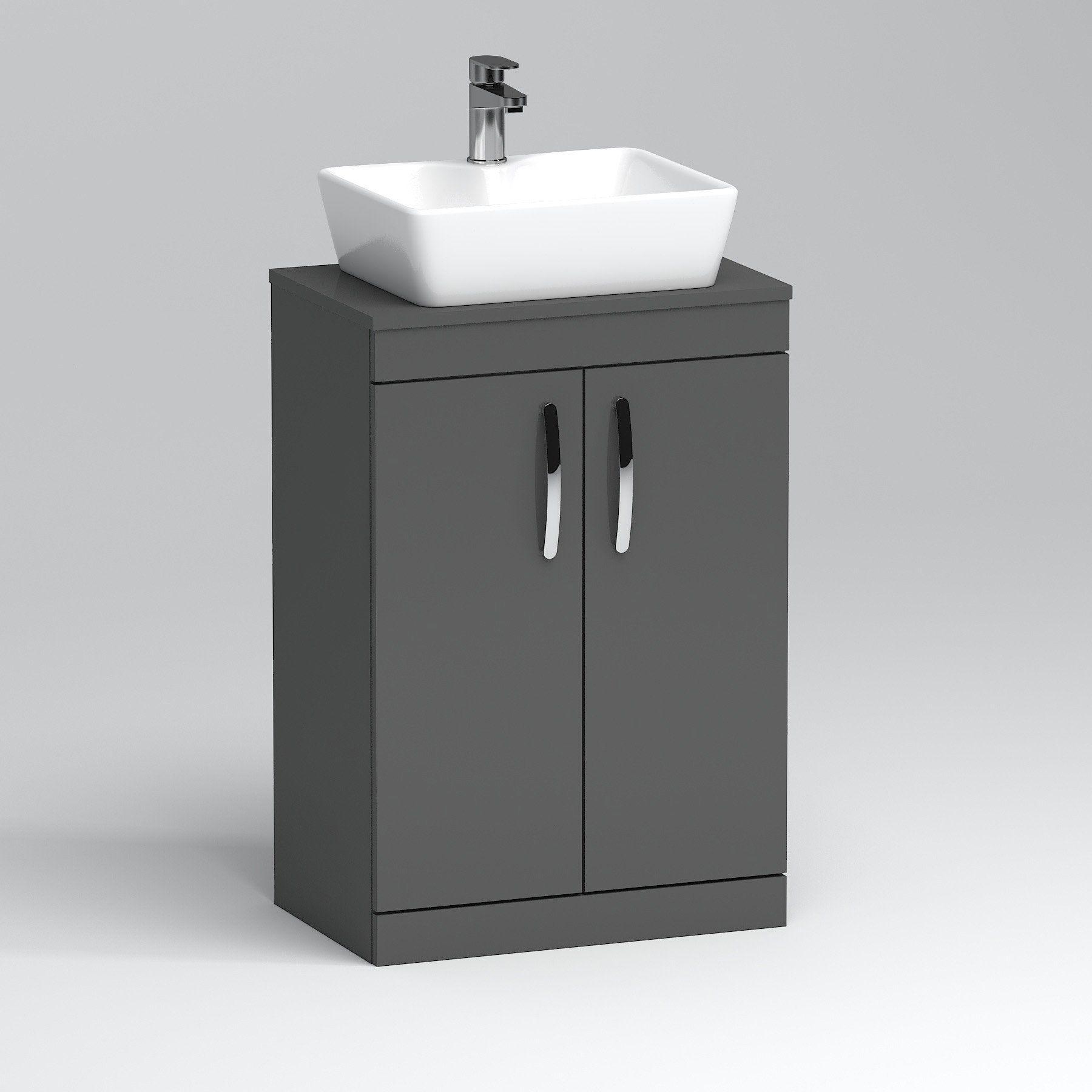 500 600mm Floor Standing Vanity Unit 2 Door Indigo Grey Gloss