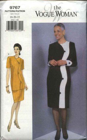 Vogue Sewing Pattern 9767 Misses Size 18-20-22 Easy Dress Top Skirt ...