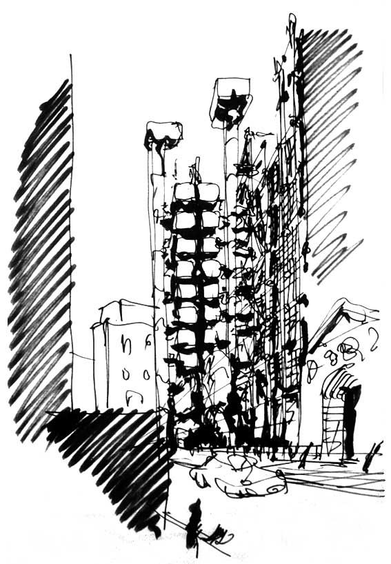 Richard Rogers - Concept - perspective sketch ...